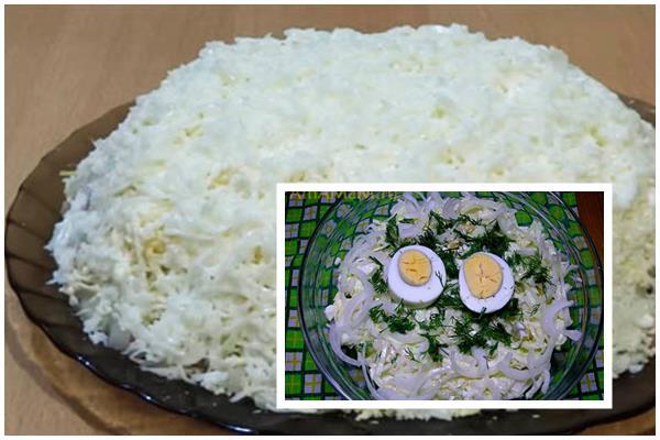из яиц, лука и пекинской капусты
