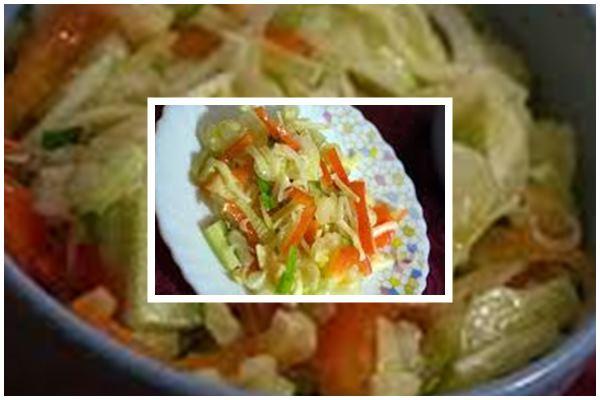 Вкусный салат из капусты с сельдереем, огурцом и перцем