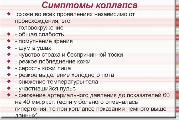 Симптомы коллапса