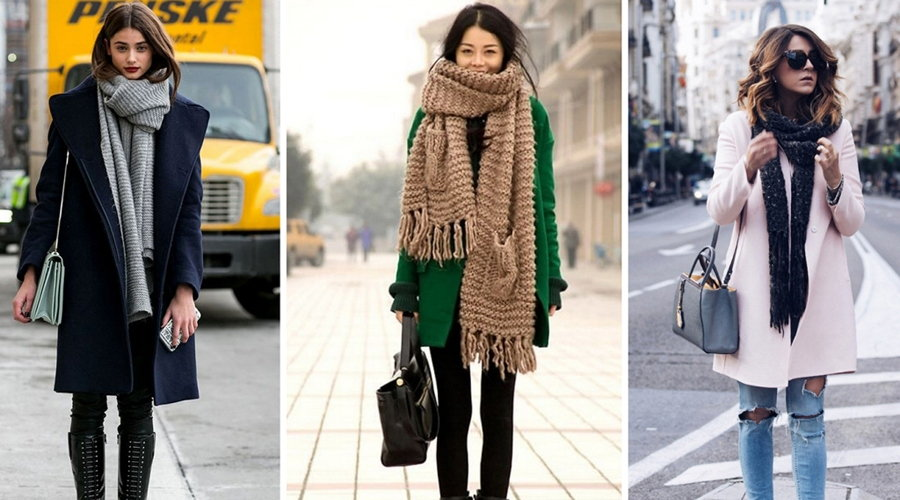 Способы завязывания шарфов на пальто