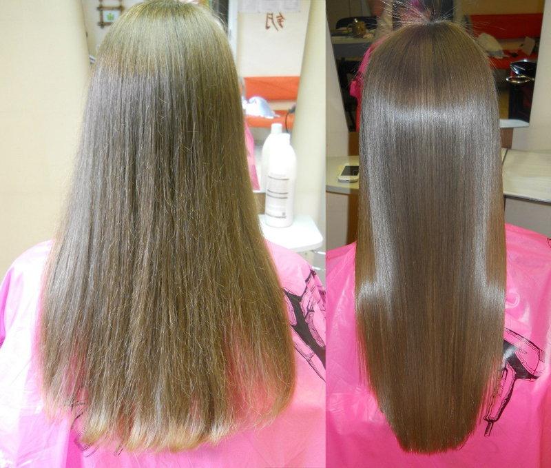 Пример выпрямления волос