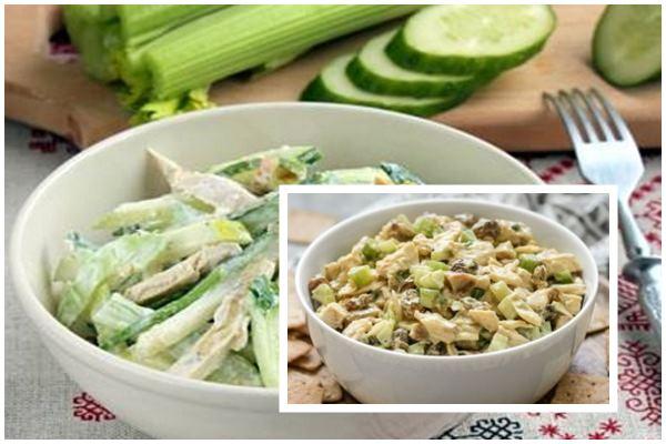 Салат из сельдерея с курицей и грибами