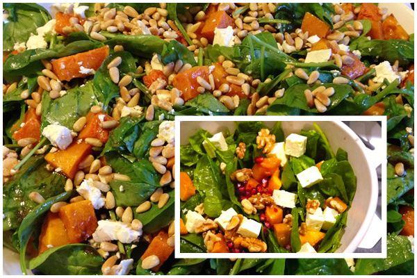 тыквенный салат со шпинатом и сыром