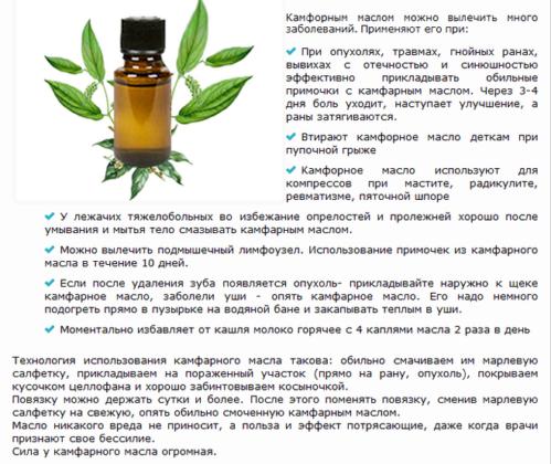 Растирание камфорным маслом