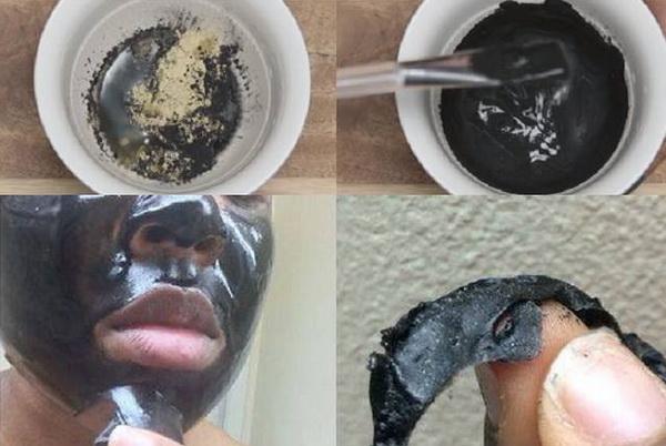 Маска для лица из желатина и активированного угля от черных точек