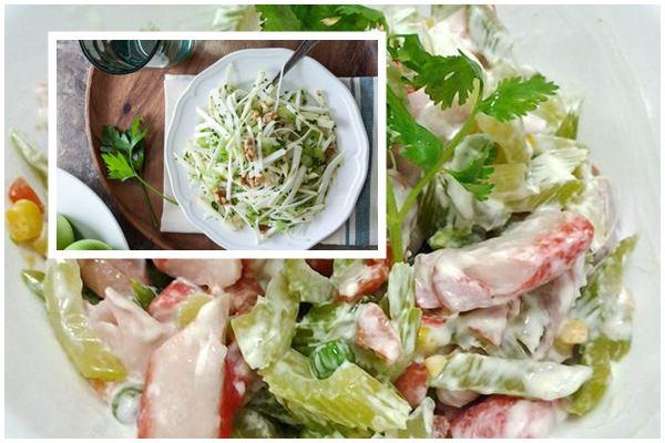 Сельдерейный салат с курицей и редисом