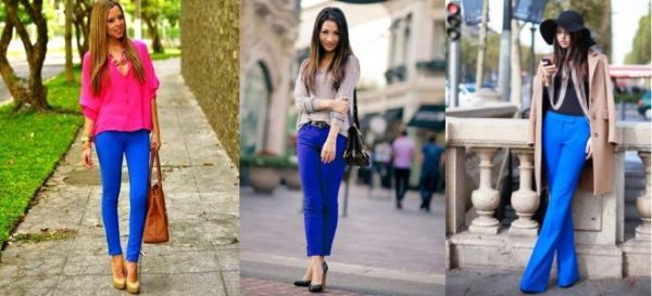 Ярко-синие брюки – показатель смелости и стиля